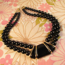 Vintage 1970s/80s Signed Napier Double Strand Black Beaded Mod Design Necklace