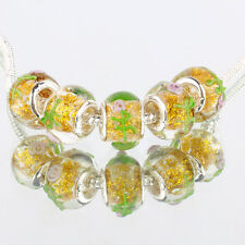 Creative flowers 5pcs MURANO glass bead LAMPWORK fit European Charm Bracelet