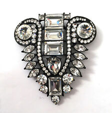 Butler and Wilson Clear Crystal Black Plated Art Deco Style Brooch NEW