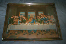 Large 16 by 21 Inch Jesus Last Supper Picture with Wooden Frame and Glass