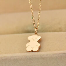 Hot 14K Rose Gold Stainless Steel Lovely Bear Pendant Collarbone Chain Necklace