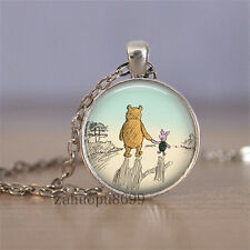 Vintage bear Cabochon Silver plated Glass Chain 25mm Pendant Necklace