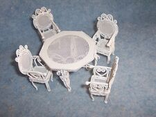 Miniature Dollhouse Furniture- Outdoor Table & 4 Chairs Set, metal, white
