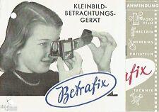 VEB Funkwerk Erfurt Kleinbild Betrachtungsgerät Betrafix Prospekt DDR 1954