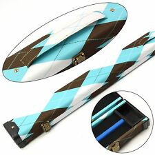 WHITE BROWN & TURQUOISE TARTAN 3/4 Pool Snooker Cue Case - 116cm Max Length