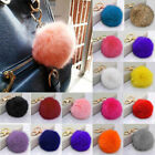 Soft Furry Rabbit Fur Gold Ball Pom Pendant Car Keychain Handbag Charm Key Ring