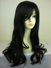 UKJF194  fashion stylish long black wavy natural hair women's wig wigs for women