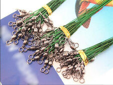 72 pcs Stainless Steel Fishing Trace Lure Wire Spinner Leader Hooks Interlock