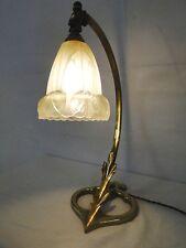 Französische Jugendstil Tischlampe Standlampe Bronze Pressglas France 1920