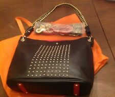 "Original by Sharif 16.5x12.5"" Black Purse Gold Studs Extra Strap Can Use As Belt"