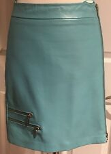 """CACHE Teal Light Blue Mini Leather Skirt Extra Small 0  17.5"""" w/ zippers"""