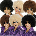 Mens Womens 70s Afro Wigs Black Brown Blonde Funky Stag Fancy Dress Wig Hen Film