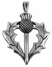 Large 925 Sterling Silver Scottish Thistle Necklace Pendant Silver Box Chain