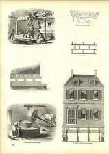 Old Engravings Fine Lime Grinding Mill Cairo Removing Houses America Method