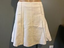 ANN TAYLOR LOFT WOMENS SZ 16 WHITE LINEN/COTTON A LINE MINI SKIRT NWT