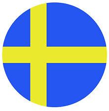 2 AUTOAUFKLEBER SCHWEDEN STICKER RUND ROUND AUTO AUFKLEBER SVERIGE SWEDEN NEU !!