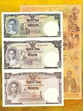 Thailand Uncut 1,5,10 Baht (2007) P117 King RAMA IX 80' Birthday Folder - UNC