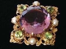 A1 amatista peridot Perla sufragista Wow 9ct Oro Broche!