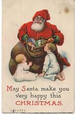Santa Claus & Christmas Sack Of Toys For Girls & Boys Antique PM1915 Postcard