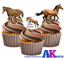 12 Happy Birthday Horse Mix EDIBLE WAFER CUP CAKE TOPPERS STAND UPS DECORATIONS