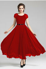 F Women Lady Red Full Skirt Evening Cocktail Party long maxi dress Plus Size 20W