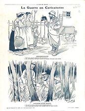 Caricature Guerre Poilus Soldats Casque à pointe Pickelhaube War Boches 1915 WWI