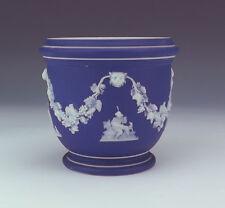 Antique Wedgwood Jasperware Pottery - White On Cobalt Blue Planter Vase