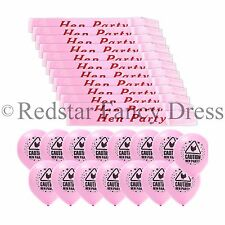 12 x DELUXE PINK HEN PARTY SASH'S + PACK OF 10 PINK HEN NIGHT BALLOONS PARTY