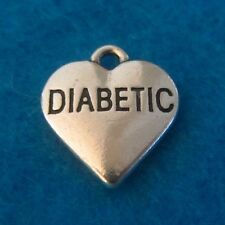 Pendant Diabetes Charm Diabetic Antique Silver Charm Medical Charm Heart Charm