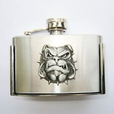 FLASK SILVER WESTERN DOG HEAD 3oz  WATER  BELT BUCKLE