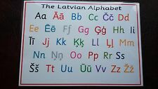 The LATVIAN Alphabet -A4 Laminated Poster - Letters- Learn a language