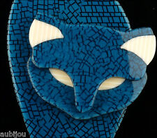 LEA STEIN PARIS FIGURAL BLUE MOSAIC RESIN BACCHUS STANDING CAT BROOCH PIN FRANCE