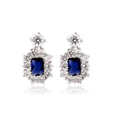 18K WHITE GOLD PLATED GENUINE SAPPHIRE BLUE SWAROVSKI CRYSTAL DANGLE EARRINGS