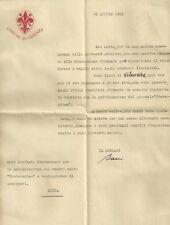 Lettera con Busta Autografo Comune di Firenze del Sindaco Orazio Bacci 1915