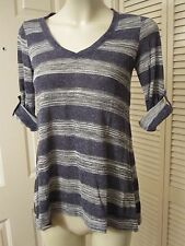 MAX STUDIO NAVY GRAY LINEN BLEND KNIT BILEVEL HEM ROLL SLEEVE SHIRT TOP SIZE XS