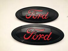 2015-2016-2017 FORD F-150 Black & RACE RED LOGO, Emblem SET, FRONT & REAR