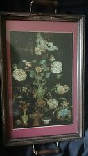 Antique Chinese Embroidery Panel, Silk, Framed w/ Glass in a Tea Tray 19th C?