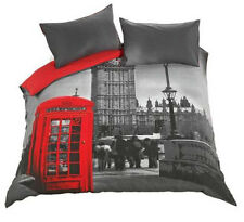 REVERSIBLE DOUBLE LONDON PHONEBOX BEDDING BED SET 1 DUVET COVER 2 PILLOWCASES