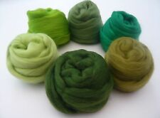 Heidifeathers Merino Wool Tops 6 Green Shades for Felting + Spinning