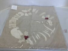 "Pottery Barn Jolly Cheer Joy Applique Embroidered Christmas Pillow Cover 18"" *"