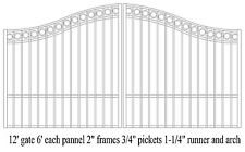 Custom Built Steel Driveway Entry Gate 12ft Wide Dual. Fencing, Handrails, Beds.