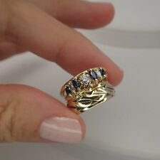 14K 3 Ring set Diamond Ring Wide Band with Sapphire guard jacket size 4