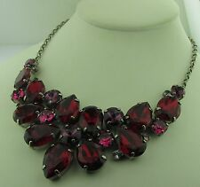 Sorrelli Pink Ruby Necklace NCP3ASPR antique silver tone