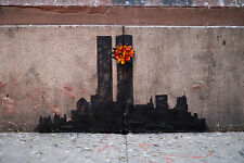 Framed Banksy Street Art Print – The Twin Towers New York (Graffiti Picture)