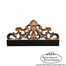 Karges Black & Gold Gilt Painted King Size Rococo Style Headboard