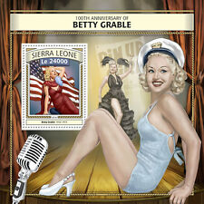 Sierra Leona 2016 estampillada sin montar o nunca montada Betty Grable 1v S/S Pin-Up Girls sellos de estrellas de cine