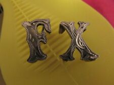 """2x Vintage Old Mexico Letters/Charms Sterling Silver 3/4"""" """"F X"""" or """"X F"""" Bin Now"""
