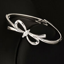 Sweet Crystal Hollow Big Bow Bracelets Bangle Cuff For Women Lady 2017 New Brand