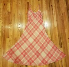Polo Ralph Lauren Women's Plaid Maxi Dress Spaghetti Red Cream Pink Size 14