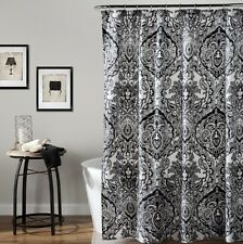 Damask Shower Curtains Fabric Black White Bathroom Polyester 72 x 72